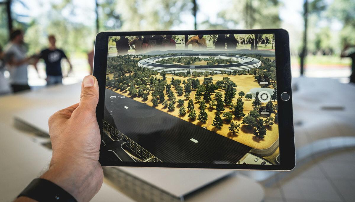 Apple iPad displaying a landscape