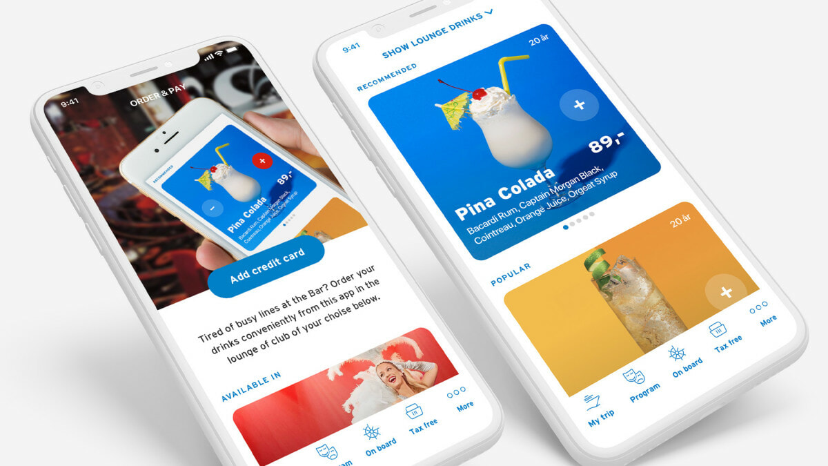 In app drink ordering on Color Line cruise experience