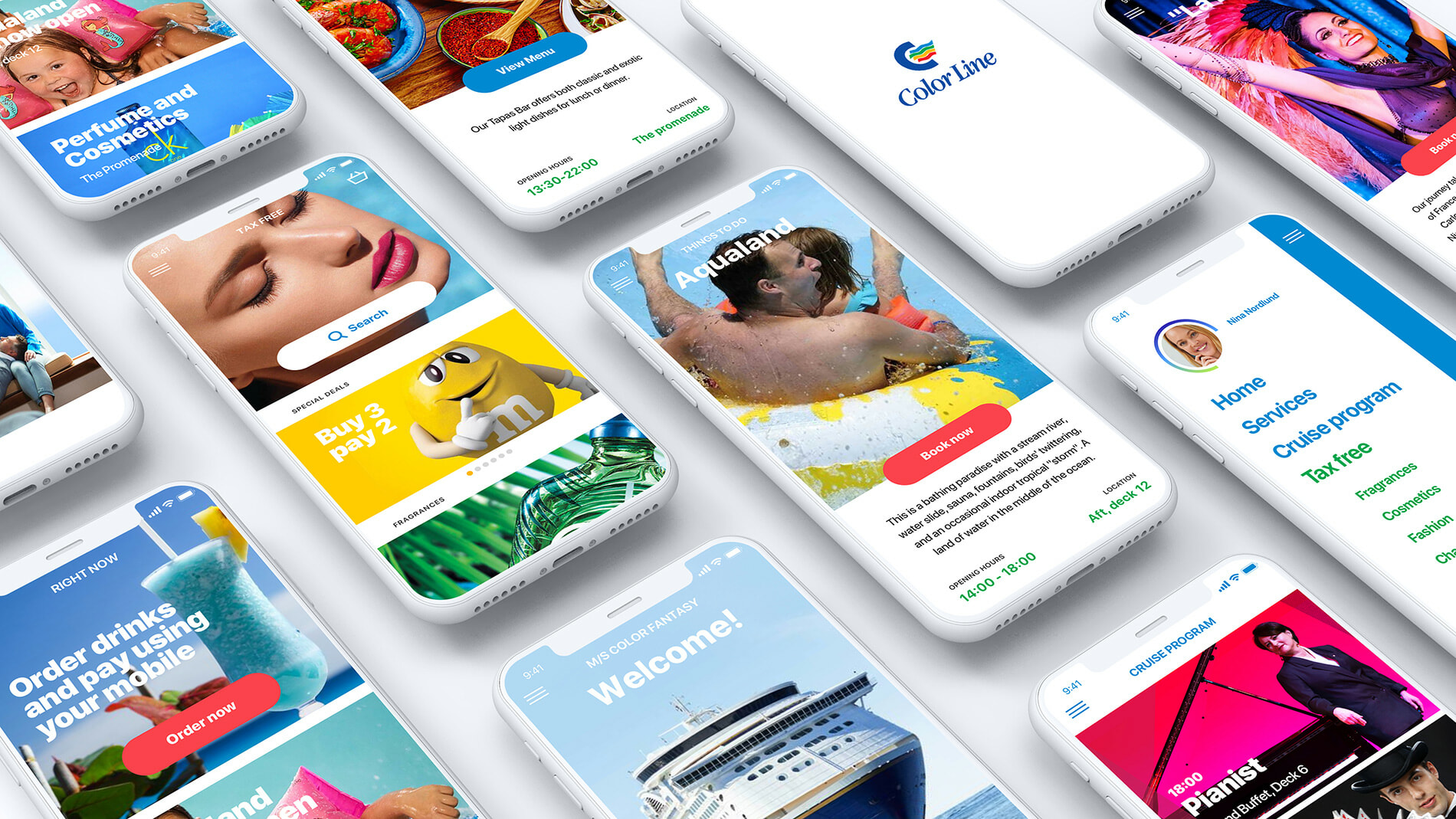 Various views of colourful look and feel of the Color Line cruise app