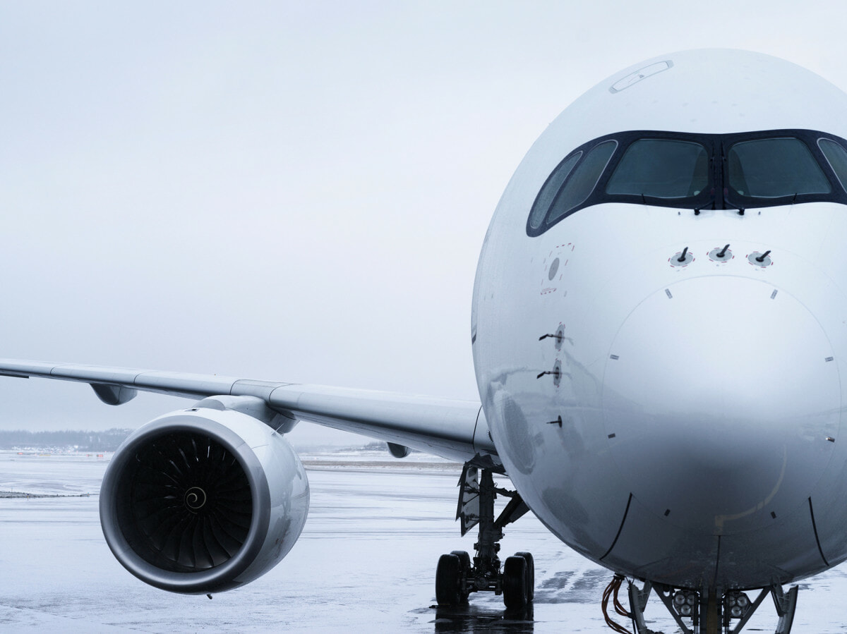 Finnair Airbus A350 detail of nose and wing