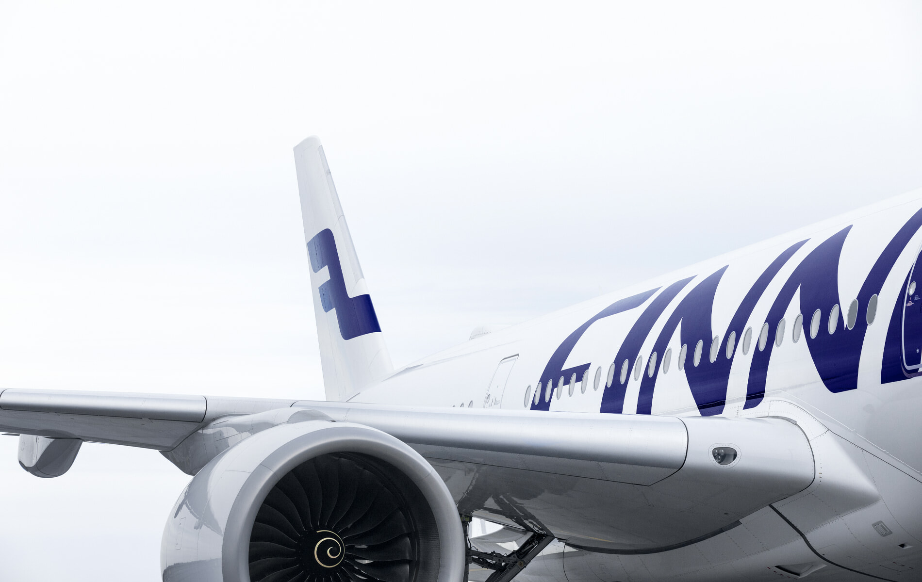 Finnair Airbus A350 detail of side, wing, engine and tail