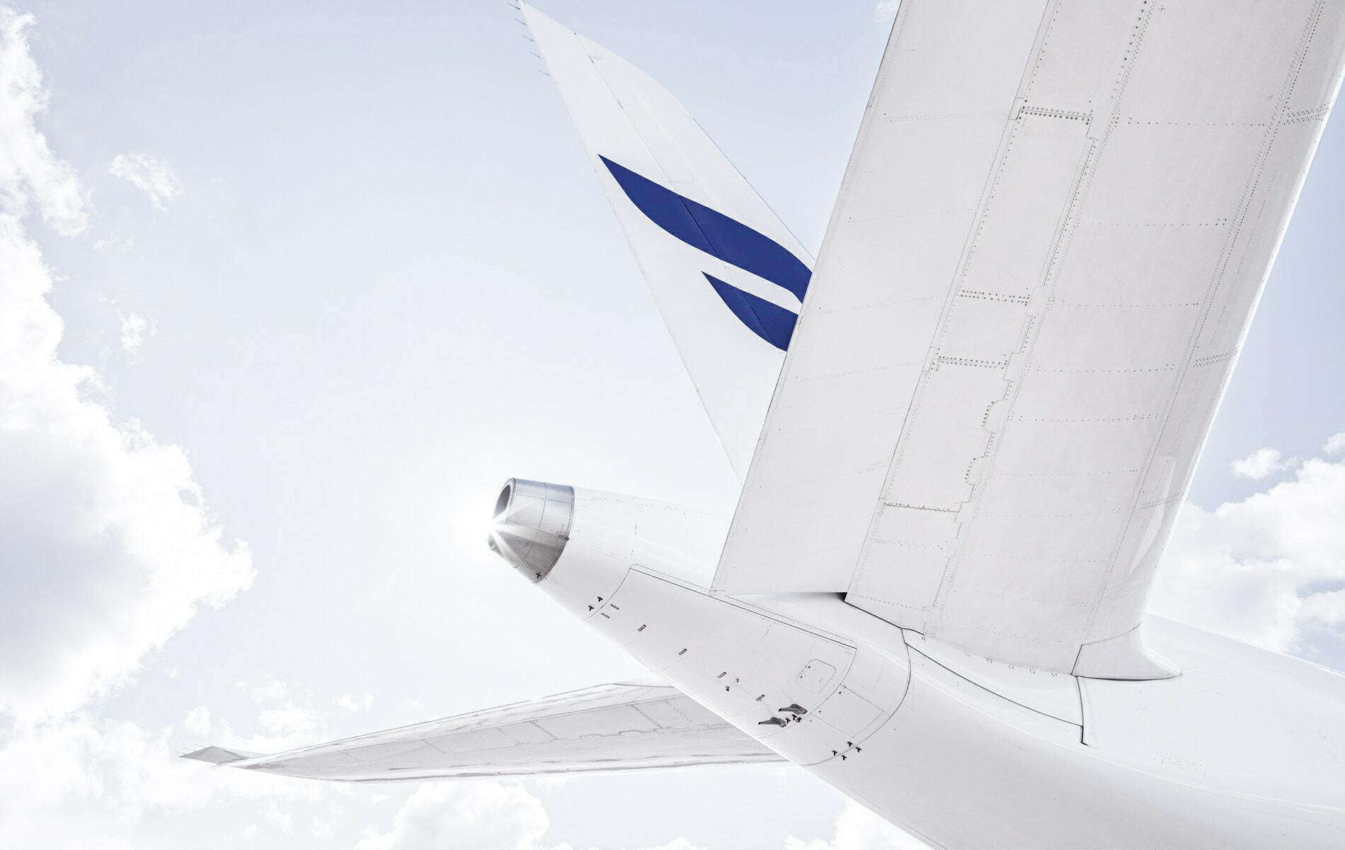 Finnair Airbus A350 detail of tail from below
