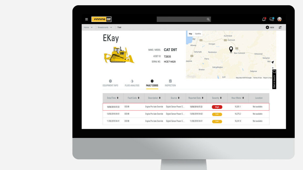 my.finning.com website showing information of equipment faults