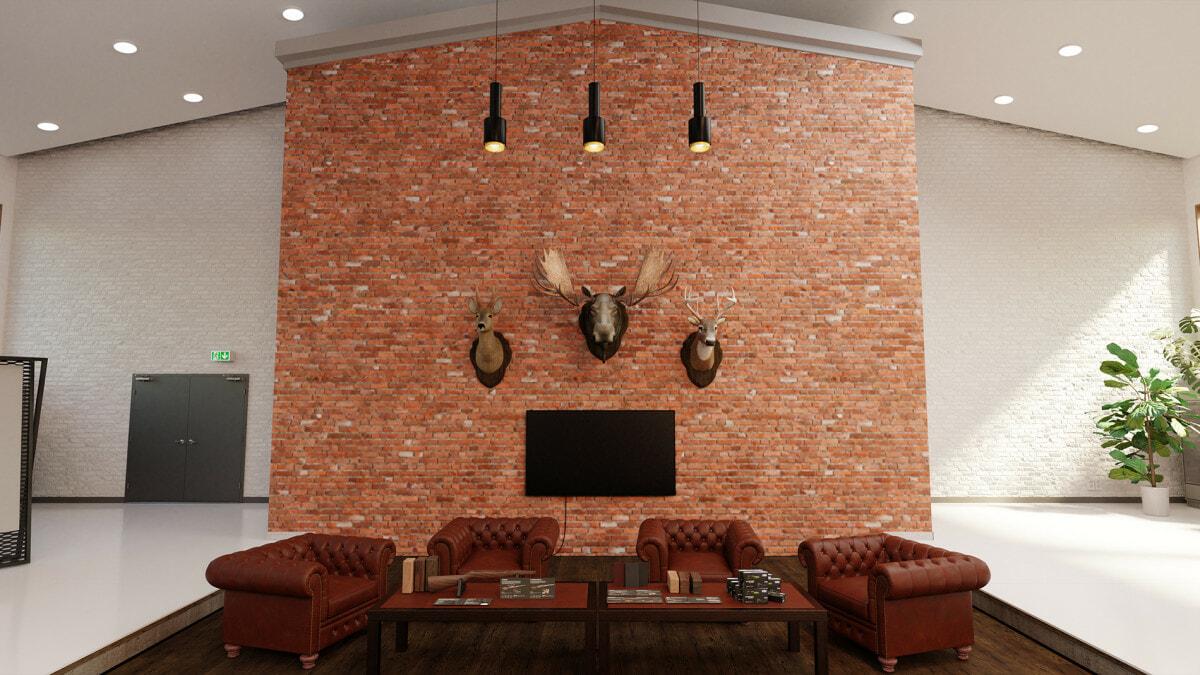 Virtuaalisen näyttelytilan lounge-alue, jossa nahkaisia nojatuoleja ja Sakon tuotteita pöydällä