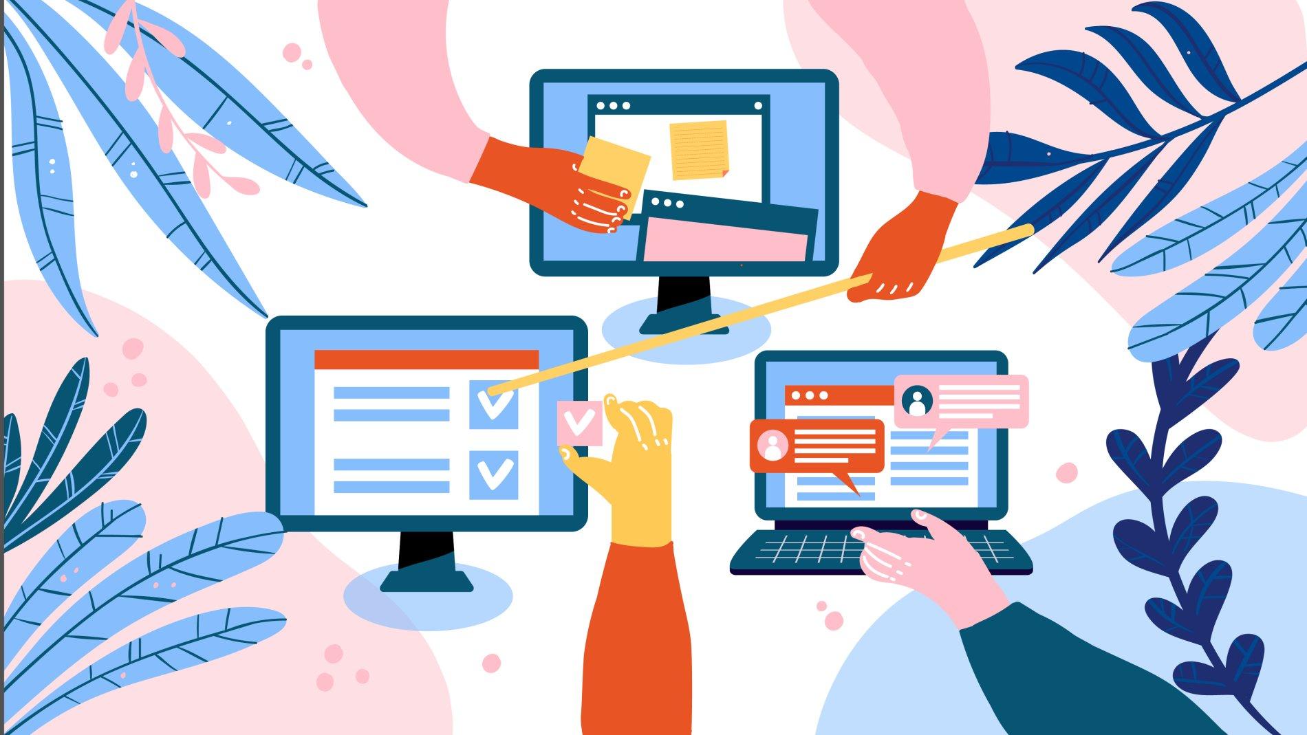 Illustration of teaching people via a webinar screens